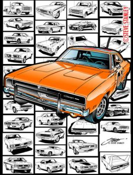 Mopar / Dodge Charger / Automobile Line art by SteveStanleyArt