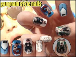 Gangnam style nails by JawsOfKita-LoveHim
