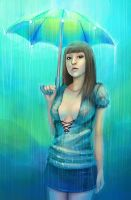 A girl with umbrella by Waleria