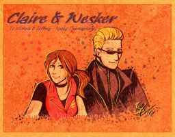 Happy Thanksgiving: Claire and Wesker by MasterOfUnlocking