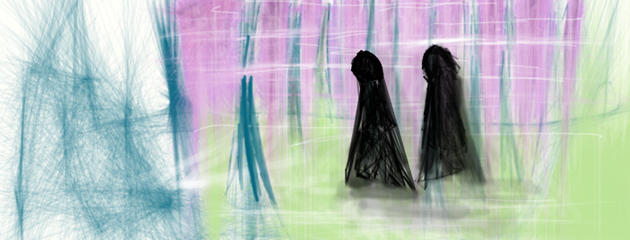 death eaters in magical forest by Nerdfighter