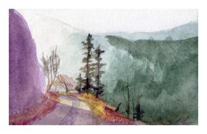 Mini watercolor: The Road by SALTWatercolors