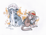 Law and Luffy as animals by Fuuga2