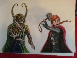 Elsa/Loki and Anna/Thor by AlexFentonDesigns
