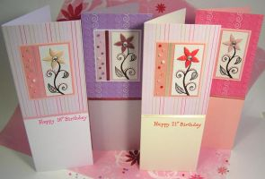 Fimo Flower Birthday Cards by haz-elf