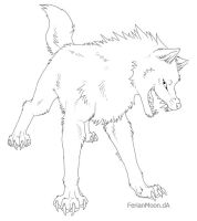 Free 'Sinister' Wolf Lineart by FerianMoon
