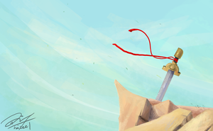 sword at the end of a cliff by Haizeel
