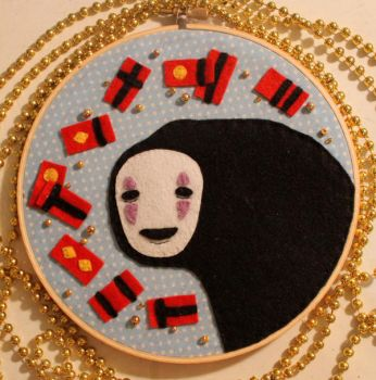 No Face Embroidery Hoop by loveandasandwich