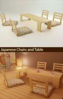 Japanese chairs and table by Voserna