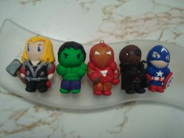 Mini Avengers Chibi Charms by knuxnbats