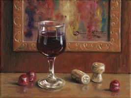 Glass of wine by dh6art