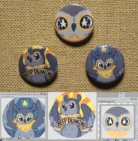 Owlscape pin back buttons by CloverCoin