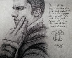 Old drawing, a friend as Ezio by Musiriam