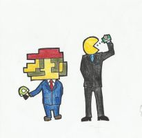 Mario and Pacman in suit by 2eyes-97