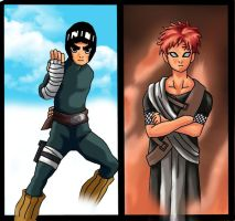 Rock Lee Vs Gaara by Boutassai