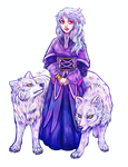 Girl and Two Wolves -COLOUR- by SparksOfTheStars