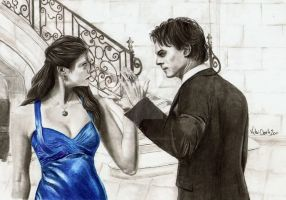 Elena and Damon by trickyvicky1978
