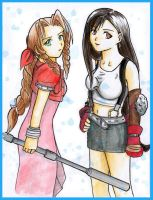 Aeris and Tifa by Kurara-Shikaze