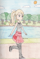Pokemon - Serena skatin' down Route 7 by SwiftNinja91