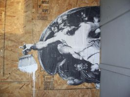 wheatpasting holy paint by murderscene6