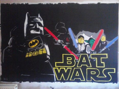 Batwars Wall Mural 7ft x 5ft by Hodgy-Uk
