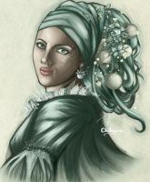 The Girl with the Flower earring by Chihyro