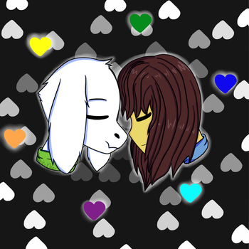 Asriel and Frisk (Undertale) by LuckyKlover