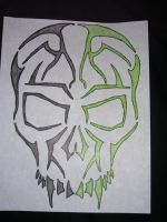 Tribal Skull Neon Green+Black by undertaker1962