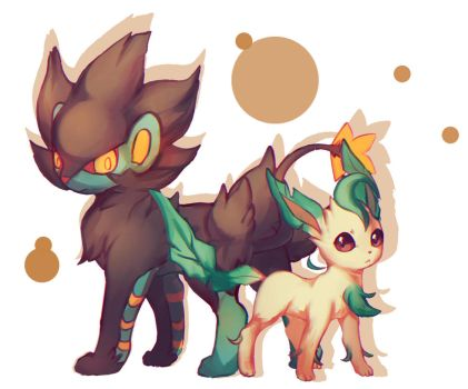 Luxray ,Leafeon by meer712