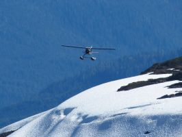 Plane Over Snowfield by Glacierman54