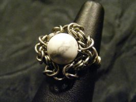 howlite byz ring by BacktoEarthCreations