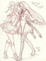 Madoka x Homura Sketch Commission Nekocon 2013 by Sketchymaloo