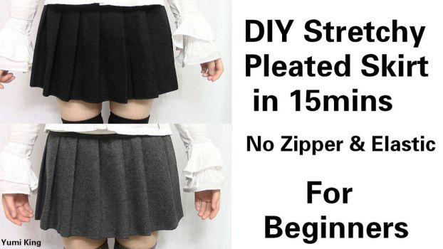 DIY Easy and Quick Stretchy Pleated Skirt by YumiKing