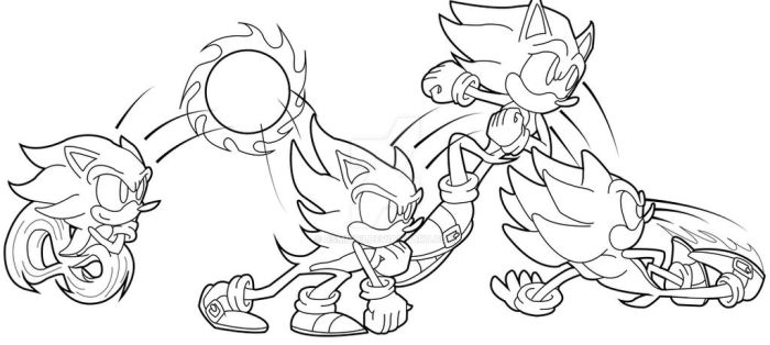 Action Sonic Line Art by bsmit93