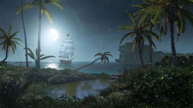 Assassin's Creed 4: Moonlit night in the Caribbean by applejack324
