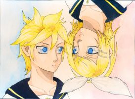 Kagamine Rin and Len by xFenne