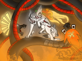 Amaterasu VS Orochi by CorruptTempest