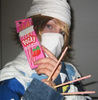 Armed with Pocky by ClumsyClueless