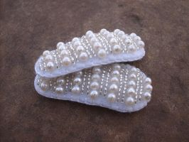 Pearl white bead embroidered barrettes by PeachPodHandmade