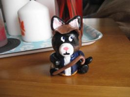 Dr House Cat MD in Clay by LaurenKitsune