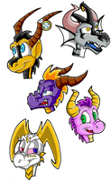 Spyro Headshots - 1 by KaylaTheDragoness