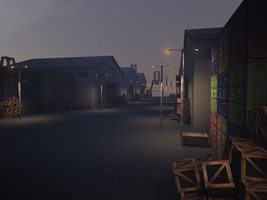 Project Lavender - Warehouse - Night Render by Utitake