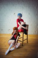 Evangelion Asuka Langley and Rei Ayanami cosplay by ShlachinaPolina