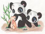Pandas and Bunnies by Aludra
