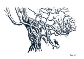 tree and crow by LunaArte