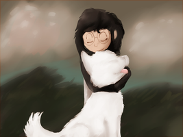 a girl and a dog by Moonblizzard