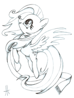 -Sketch- Fluttershy Winter by Ardas91