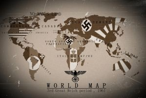 Alternate History World Map 3rd Reich 1961 by KevinAuzan