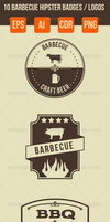 10 Barbecue Hipster Emblems by petyaivanova
