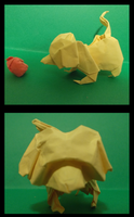 Origami Playing dog created and folded by me. by OrigamiFolder13